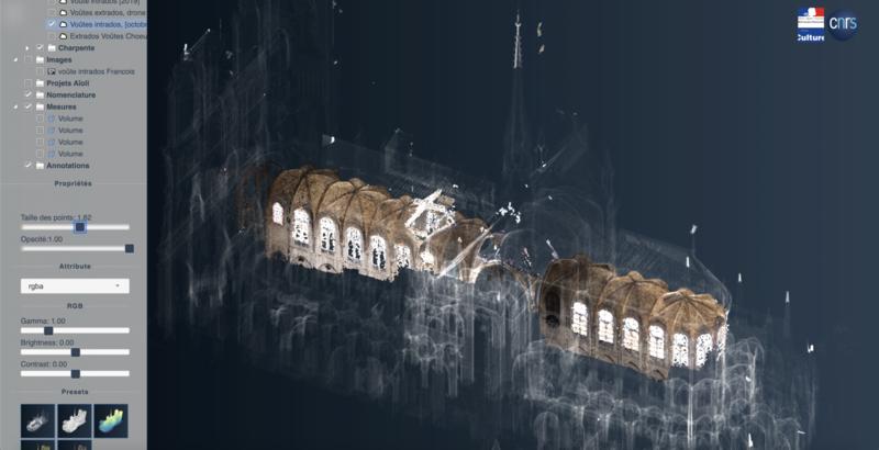 Nuage de points 3D photogrammétrique de l'intrados des voûtes (nef et chœur) de la cathédrale Notre-Dame de Paris, après l'incendie du 15 avril 2019. Chantier scientifique CNRS/Ministère de la culture