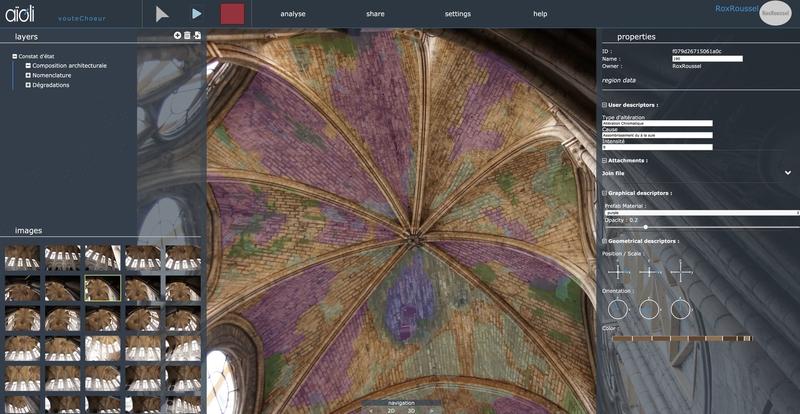Annotation 2D/3D des altérations relevées sur les voûtes du chœur de la cathédrale Notre-Dame de Paris, après l'incendie du 15 avril 2019, via la plateforme Aïoli. Chantier Scientifique Notre-Dame de Paris / Ministère de la culture / CNRS