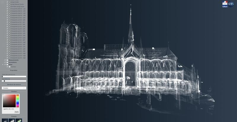 Nuage de points 3D, de la face sud de la cathédrale Notre-Dame de Paris, issu des campagnes de relevé lasergrammétrique menées par Andrew Tallon (Vassar College) entre 2006 et 2012. CNRS/Ministère de la culture