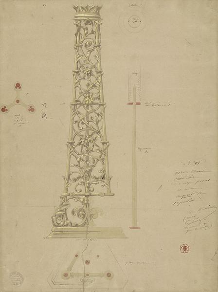 Chandelier pascal, dessin d'Eugène Viollet-le-Duc, [vers 1868], encre, crayon, lavis. MAP 1996/084–43210. © Médiathèque de l'architecture et du patrimoine