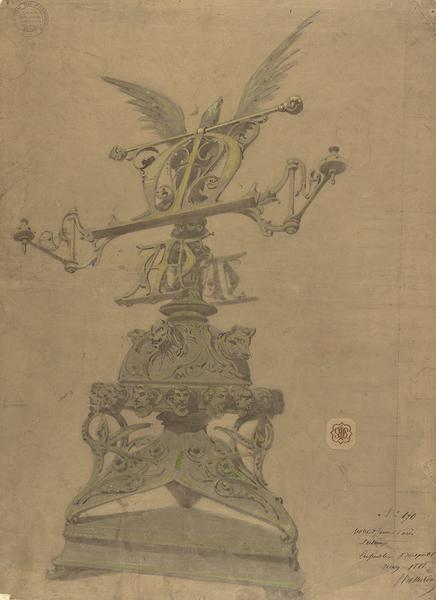 Lutrin monumental, dessin d'Eugène Viollet-le-Duc, mars 1868, encre et aquarelle. MAP 1996/084–43227. © Médiathèque de l'architecture et du patrimoine.