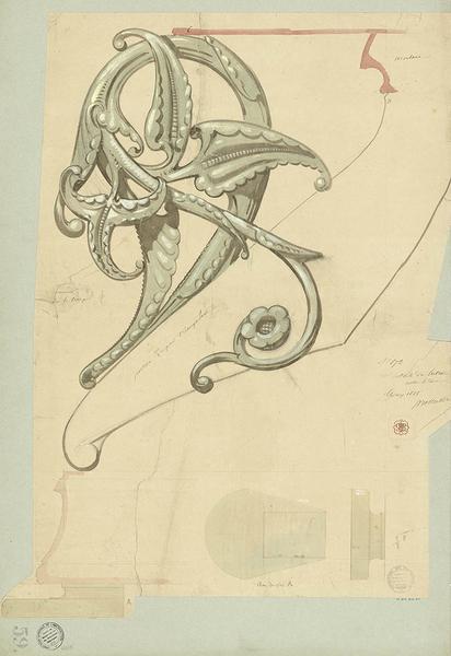 Lutrin monumental, détail de la palmette, dessin d'Eugène Viollet-le-Duc, mars 1868, encre et aquarelle. Charenton-le-Pont, MAP, 1996/084–43229. © Médiathèque de l'architecture et du patrimoine.