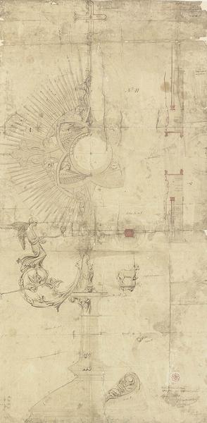 Projet pour le grand ostensoir de Notre-Dame de Paris, dessin d'Eugène Viollet-le-Duc, 20 mars 1866, encre et lavis. MAP, 1996/084–43204. © Médiathèque de l'architecture et du patrimoine, ministère de la Culture.