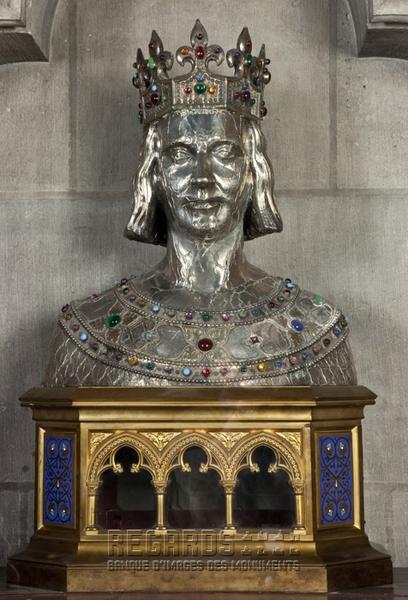Buste-reliquaire de saint Louis, par Chertier, d'après Viollet-le-Duc, vers 1857. © Pascal Lemaître 2012 / Centre des monuments nationaux.