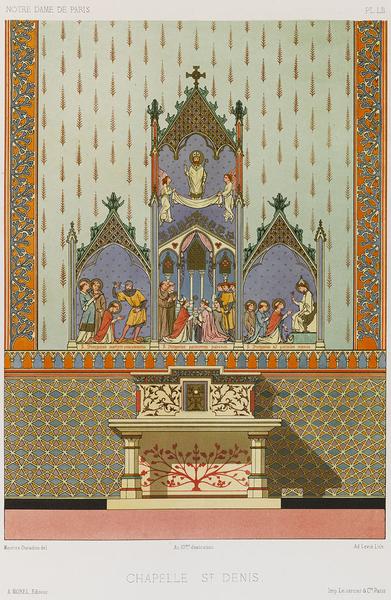 Chapelle Saint-Denis, planche LII des Peintures murales des chapelles de Notre-Dame de Paris, par Maurice Ouradou, 1870. Bibl. du CMN, 11528. © Reproduction Philippe Berthé / CMN, 2013.