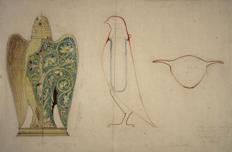 Projet de chrêmier, ou chrémeau, en forme de colombe, dessin de Viollet-le-Duc, mars 1866, plume et lavis sur papier, 53,5 x 36,5 cm. MAP, fonds du musée de Notre-Dame, DMND30. © Musée Carnavalet.