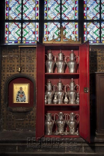 Chapelle Saint-Denis : douze vases aux saintes huiles, d'après Viollet-le-Duc, 1866. inv. NDP n°0365. © Pascal Lemaître 2012 / Centre des monuments nationaux