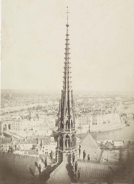 La flèche vue depuis les tours de la cathédrale, 1861
