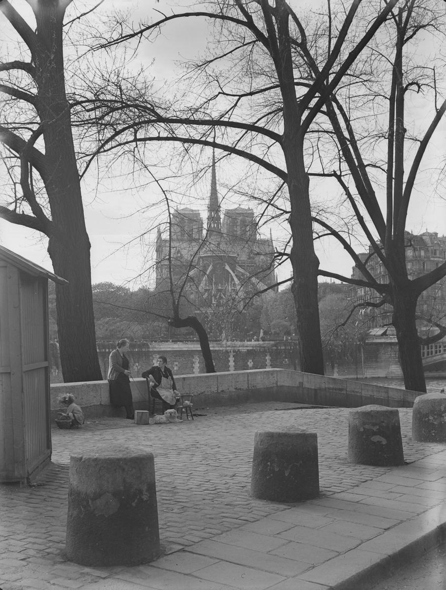 Photographie de la cathédrale Notre-Dame de Paris depuis les quais - Bovis 1937