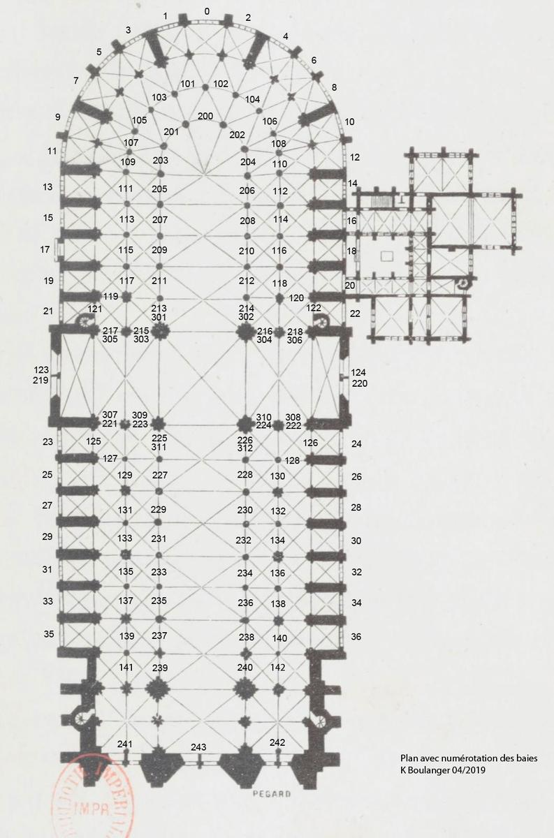 Plan des vitraux de Notre-Dame
